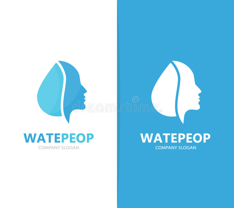 Vector de la combinación del logotipo del hombre y del aceite Cara y símbolo o icono del descenso Ser humano y agua únicos, diseñ libre illustration