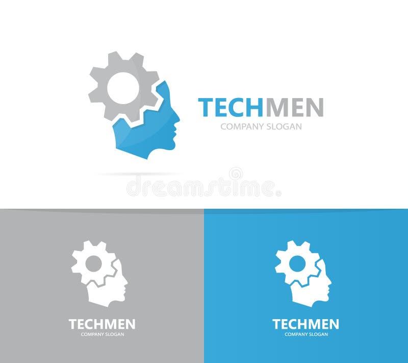 Vector de la combinación del logotipo del hombre y del engranaje Cara y símbolo o icono del mecánico Fábrica única y diseño indus libre illustration