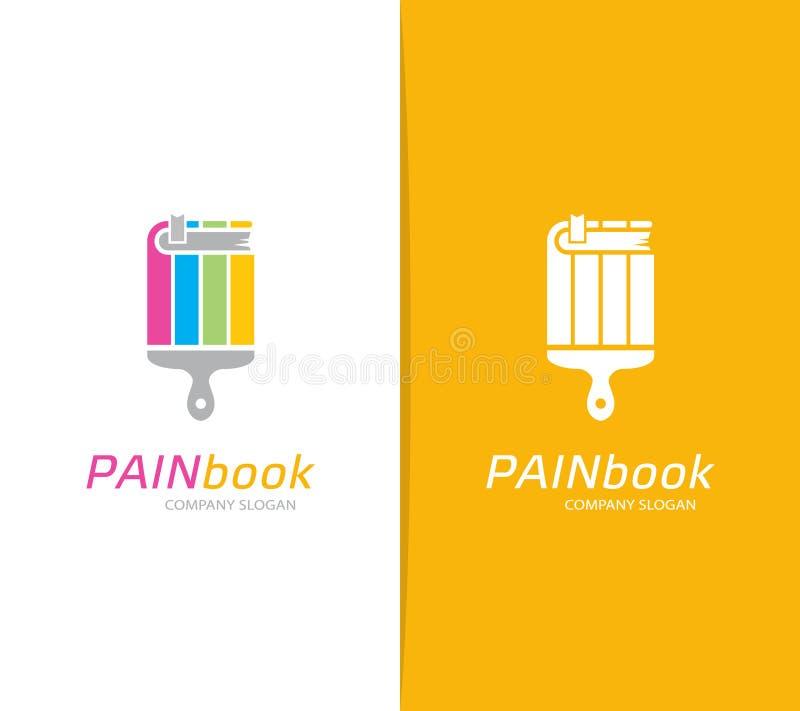 Vector de la combinación del logotipo del libro y de la brocha Librería y símbolo o icono de la biblioteca Cepillo único y educac ilustración del vector