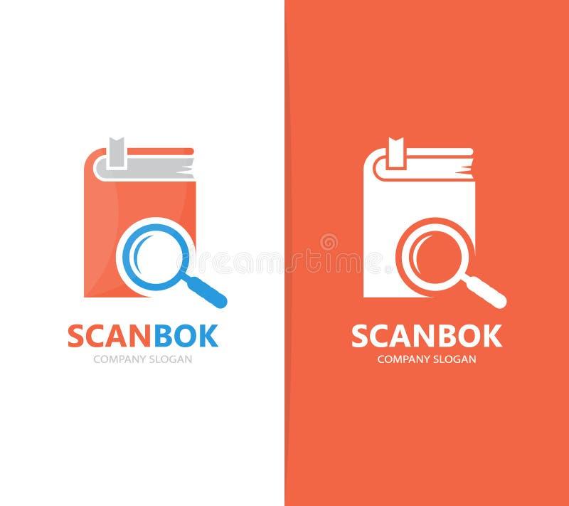 Vector de la combinación del logotipo del libro y de la lupa Biblioteca y símbolo o icono de la lupa Librería única y búsqueda libre illustration