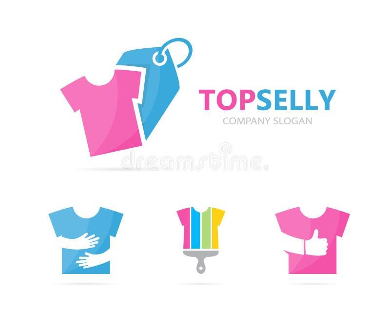 Vector de la combinación del logotipo del paño y de la etiqueta Camisa y símbolo o icono de la tienda Diseño único del logotipo d libre illustration
