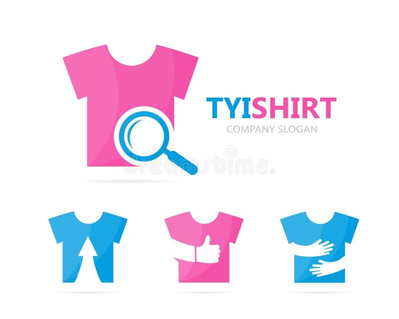 Vector de la combinación del logotipo del paño y de la lupa Camisa y símbolo o icono de la lupa Ropa única y búsqueda ilustración del vector