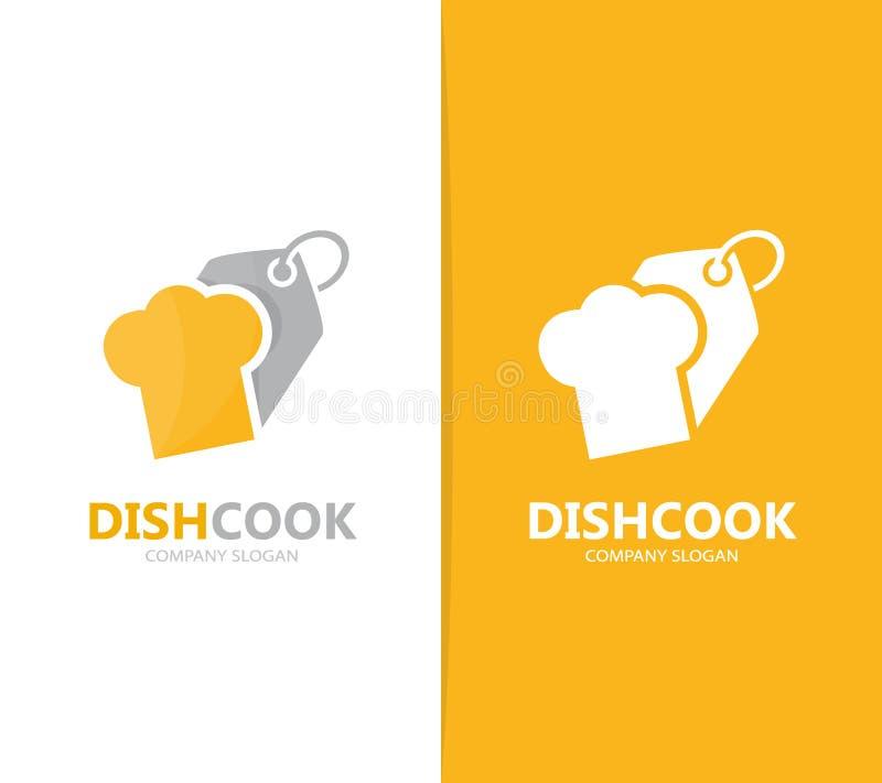 Vector de la combinación del logotipo del sombrero y de la etiqueta del cocinero Cocina y símbolo o icono de la tienda Cocinero ú stock de ilustración