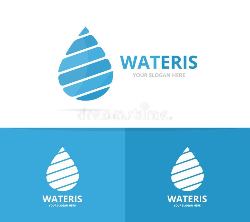Vector de la combinación del logotipo del descenso del agua Aceite y símbolo o icono de la gotita Aguamarina única y plantilla lí libre illustration
