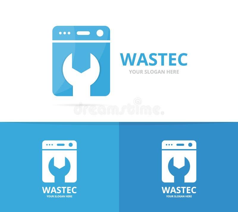 Vector de la combinación del logotipo del lavadero Lavadora y símbolo o icono de la reparación Diseño único del logotipo de la la ilustración del vector