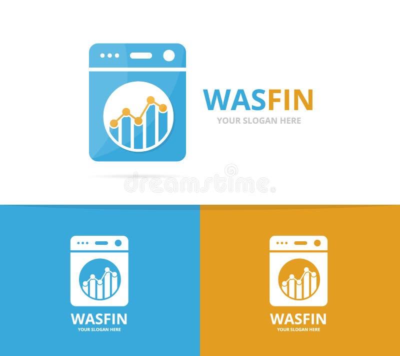 Vector de la combinación del logotipo del lavadero y del gráfico Lavadora y símbolo o icono de las finanzas Lavadora y carta únic libre illustration