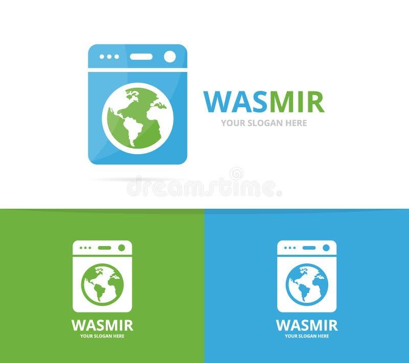 Vector de la combinación del logotipo del lavadero y del mundo Lavadora y símbolo o icono del planeta Lavadora y tierra únicas libre illustration