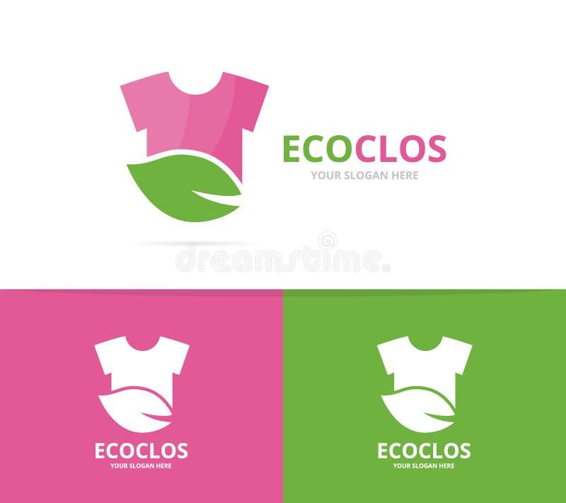 Vector de la combinación del logotipo del paño y de la hoja Camisa y símbolo o icono del eco stock de ilustración