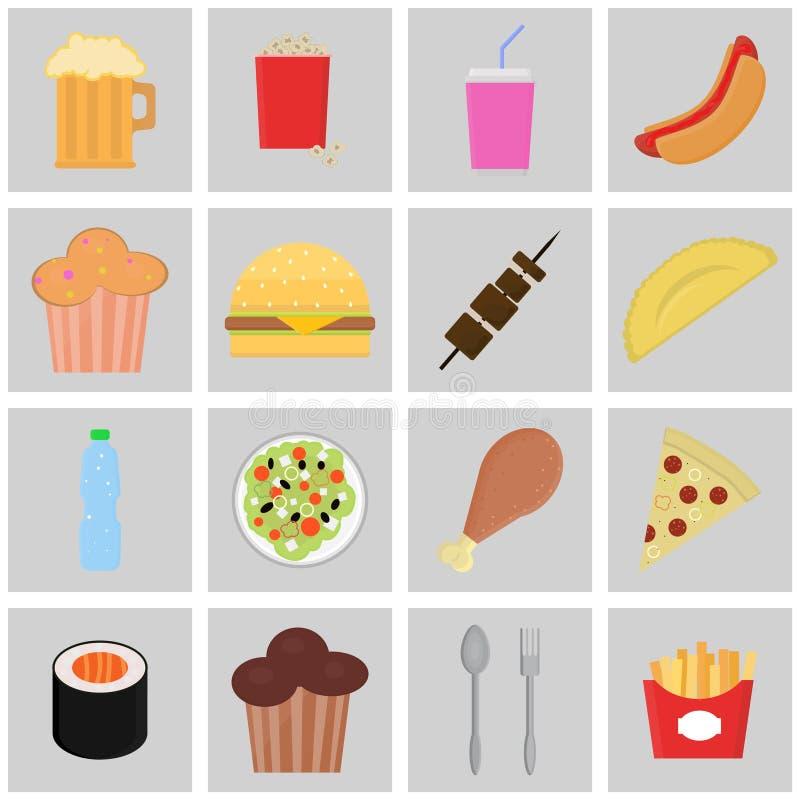 Vector de la comida y de las bebidas de los iconos del color stock de ilustración