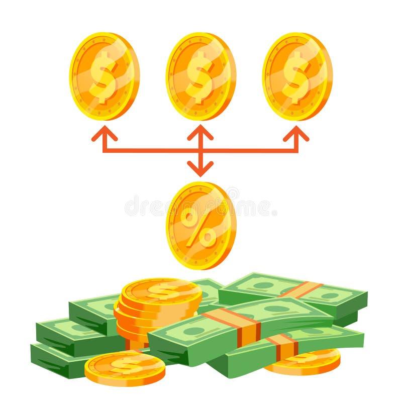 Vector de la Comisión Comisión de la compra del negocio Concepto del porcentaje Tarifa de Mone Ilustración stock de ilustración