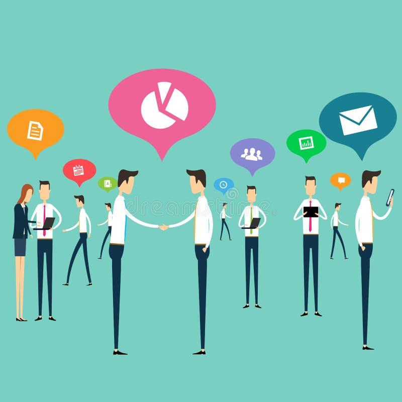 Vector de la conexión de las comunicaciones empresariales del trabajo de la gente stock de ilustración