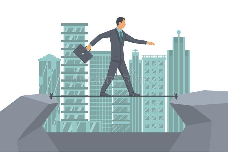 Vector de la cuerda del riesgo de negocio ilustración del vector