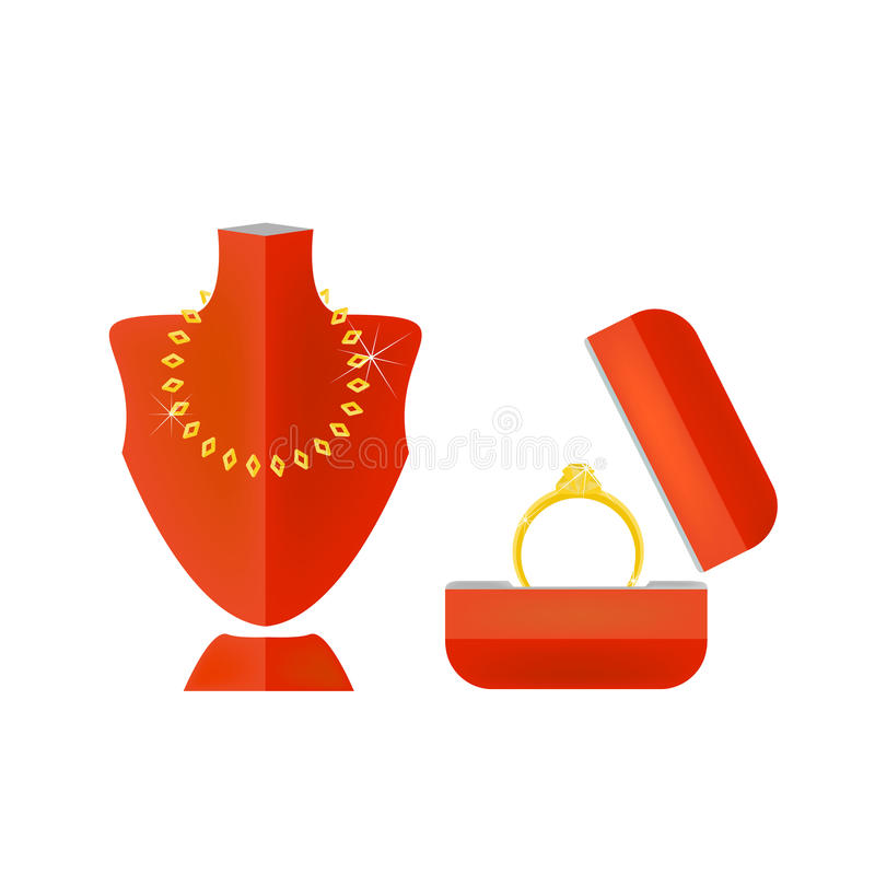 Vector de la demostración del modelo del oro del anillo del collar imágenes de archivo libres de regalías