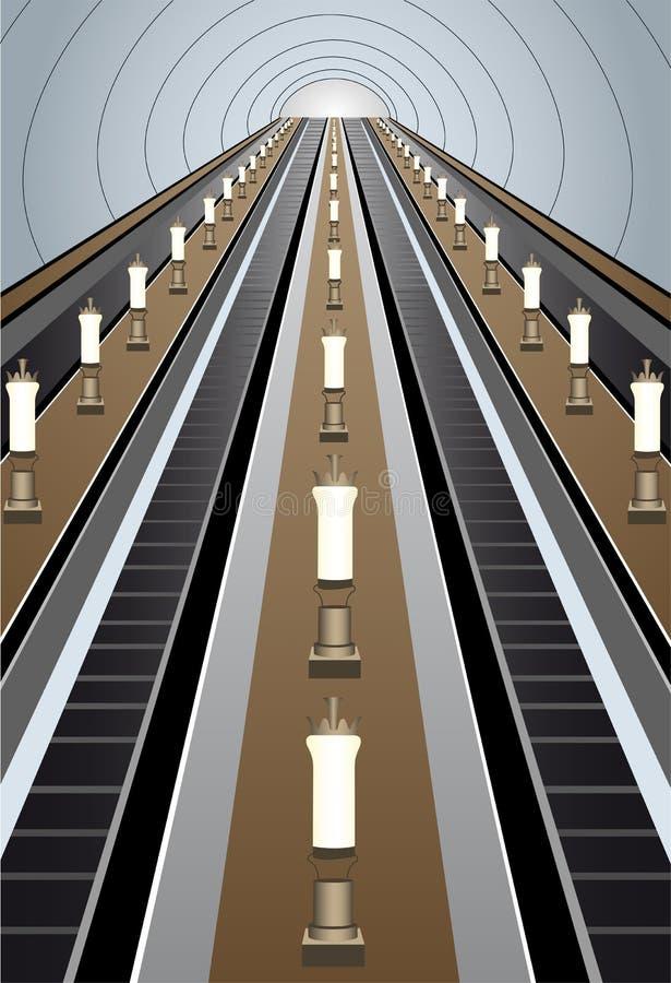 Vector de la escalera móvil del metro ilustración del vector