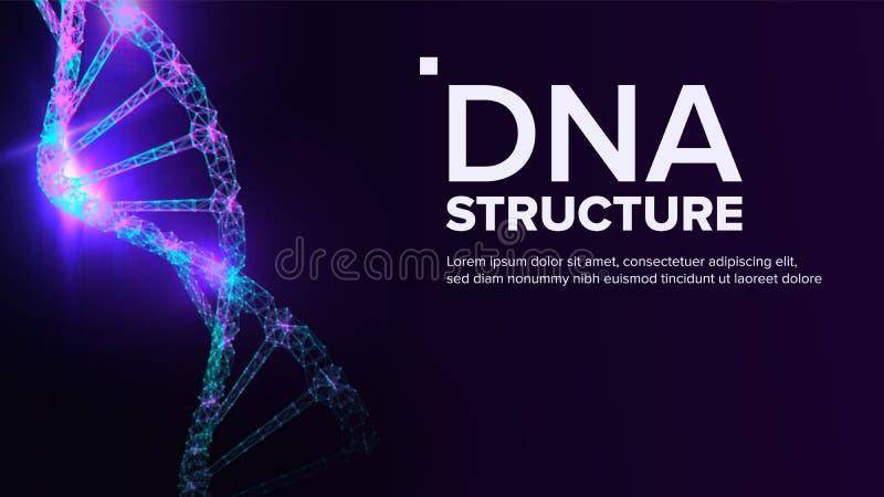 Vector de la estructura de la DNA Molécula genética Átomo de la copia Ejemplo de la prueba de la mutación stock de ilustración