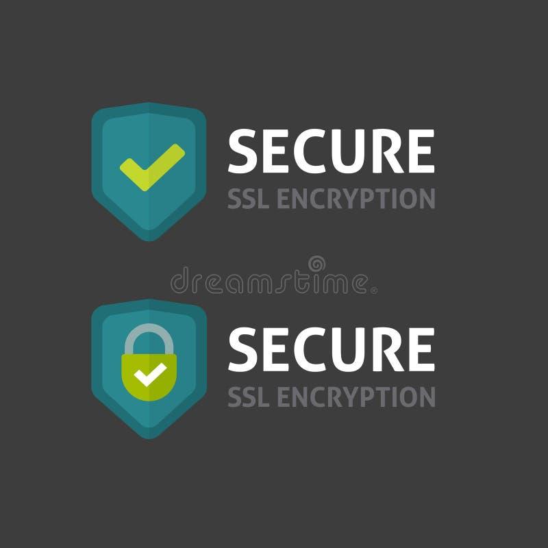 Vector de la etiqueta de la conexión segura en el fondo oscuro, escudo asegurado del SSL ilustración del vector