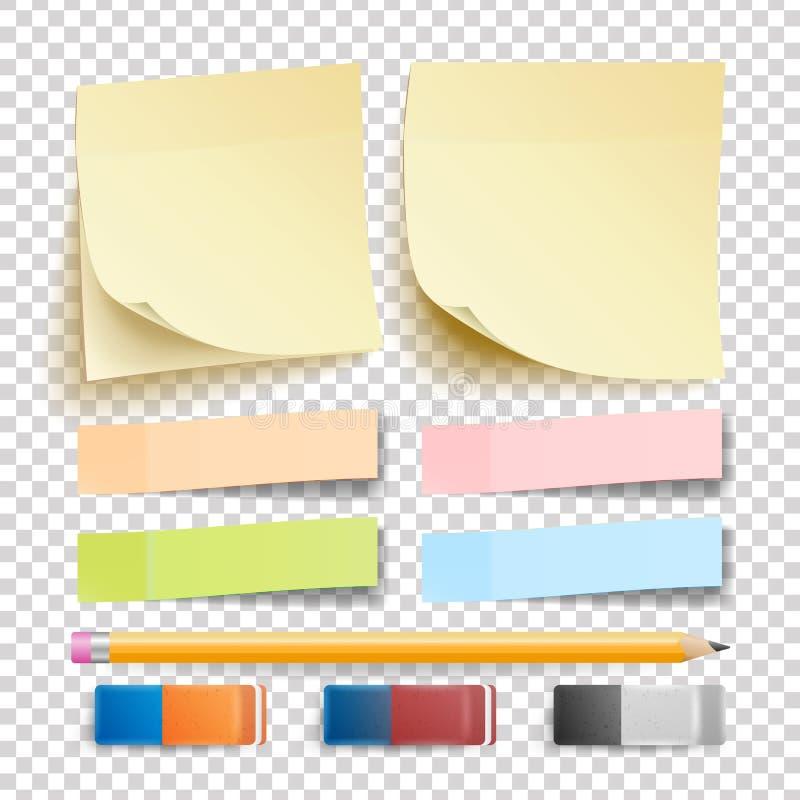 Vector de la etiqueta engomada de la nota de los posts conjunto Borrador y lápiz Bueno para hacer publicidad de diseño Cojines de fotos de archivo