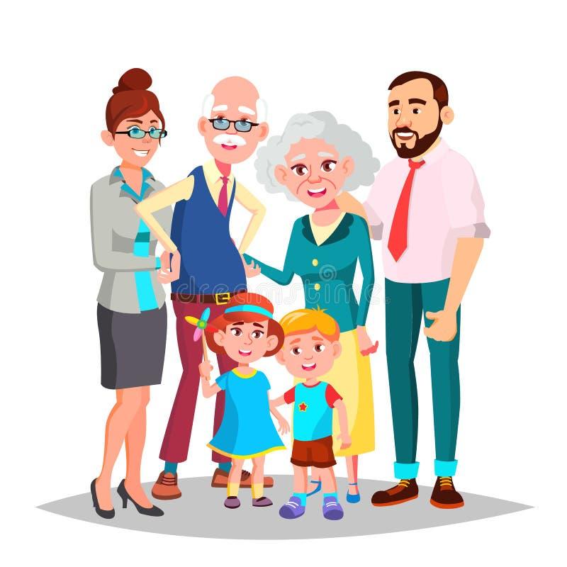 Vector de la familia Mamá, papá, niños, abuelos junto Elemento de la decoración Ejemplo aislado de la historieta libre illustration