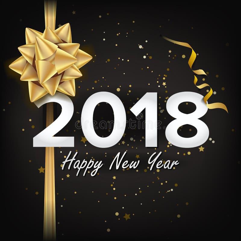 Vector de la Feliz Año Nuevo 2018 Tarjeta de felicitación de la Navidad, cartel, folleto, diseño de la plantilla del aviador Ejem ilustración del vector