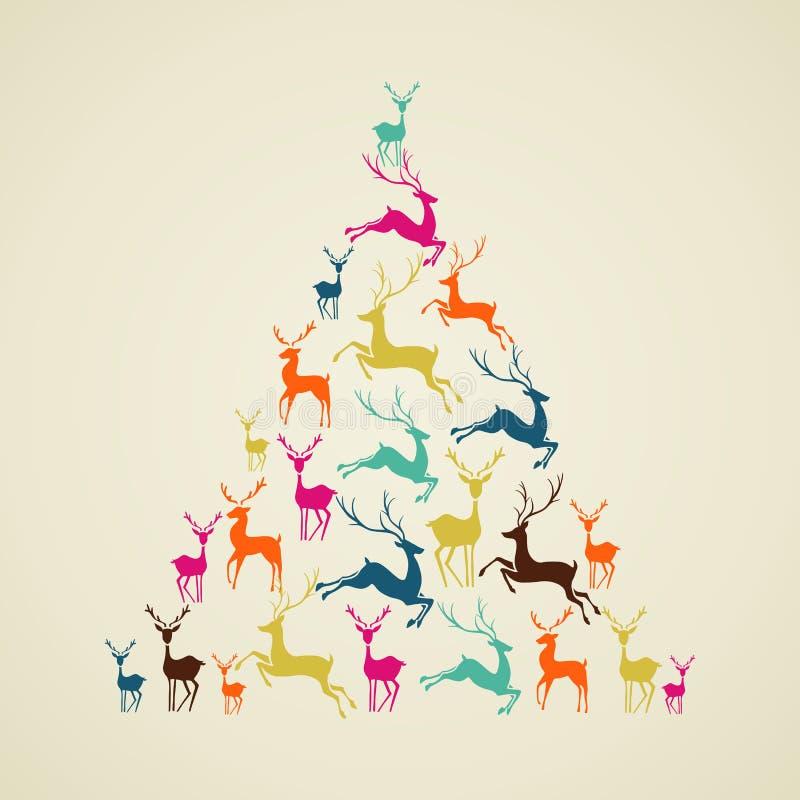 Vector de la forma del árbol de pino del reno de la Feliz Navidad. ilustración del vector