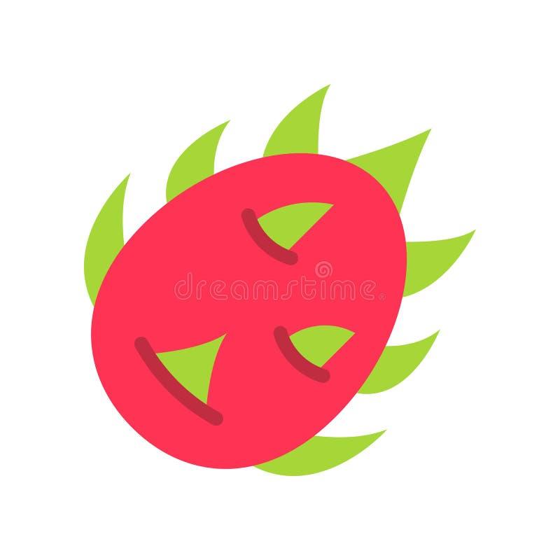 Vector de la fruta del dragón, icono plano relacionado tropical del estilo stock de ilustración