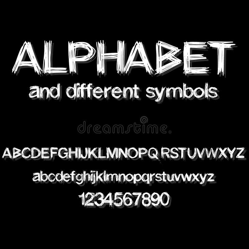 Vector de la fuente abstracta moderna y del alfabeto stock de ilustración