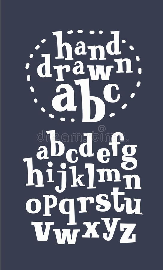 Vector de la fuente juguetona moderna y del alfabeto stock de ilustración