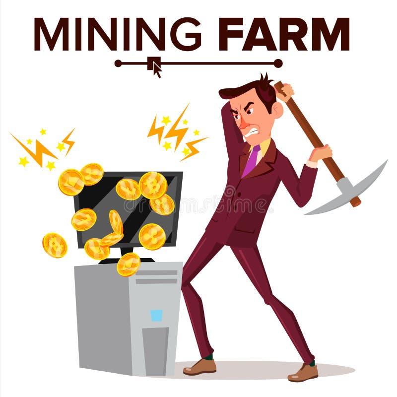 Vector de la granja de la explotación minera Hombre de negocios Miner Moneda de la criptografía Industria moderna Base de datos d stock de ilustración