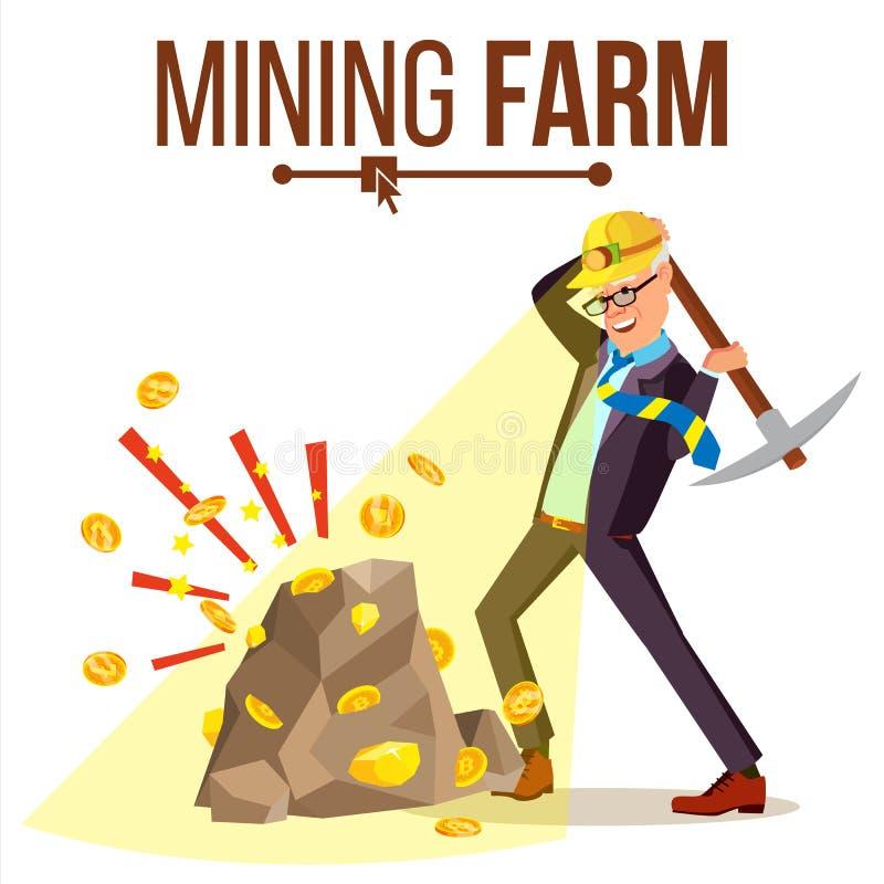 Vector de la granja de la explotación minera Hombre de negocios Miner Moneda de Digitaces Datos componentes Transacción de la pag stock de ilustración