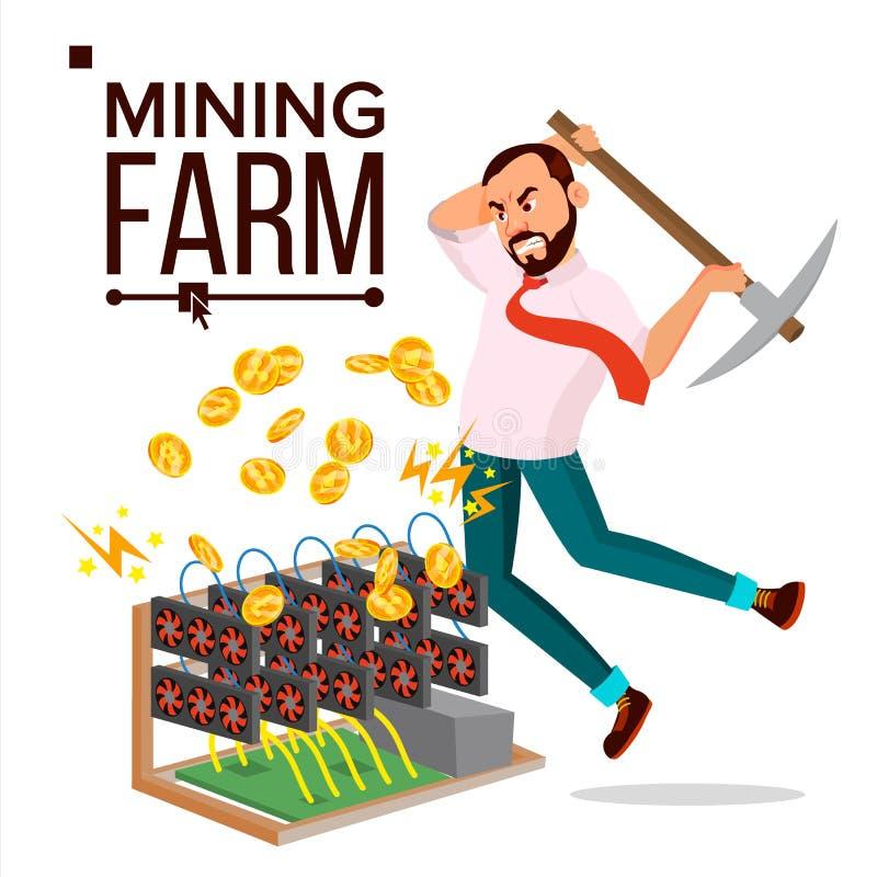 Vector de la granja de la explotación minera Hombre de negocios Miner Sitio del servidor Cultivo de monedas Tecnología en línea E libre illustration