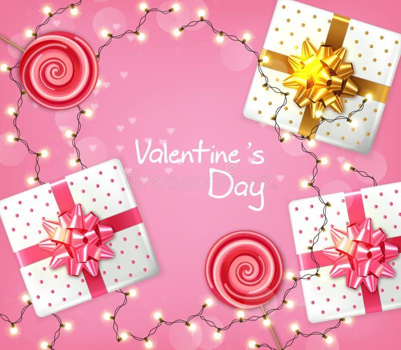 Vector de la guirnalda de las cajas y de las luces de regalo del día de San Valentín realista Celebre la tarjeta del amor r stock de ilustración