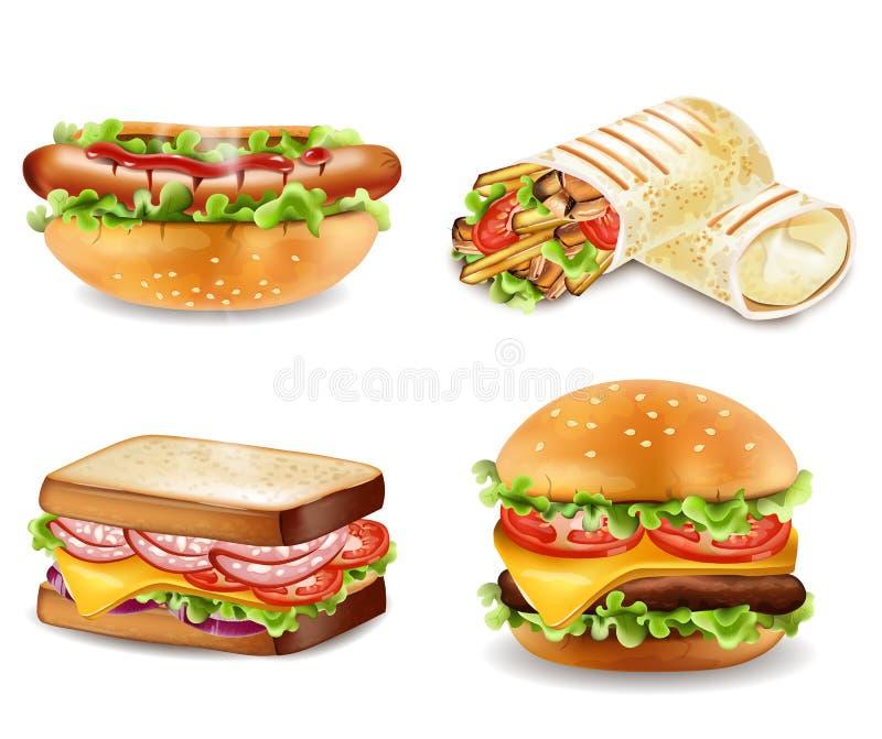 Vector de la hamburguesa, del bocadillo, del perrito caliente y del abrigo Colecciones determinadas realistas libre illustration