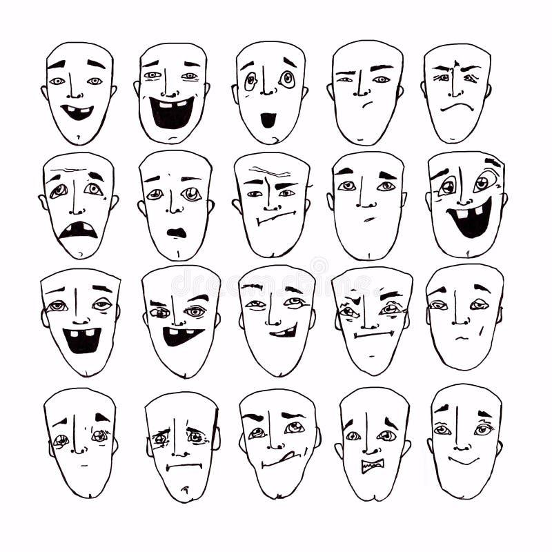 Vector de la historieta con emociones Ilustraci?n conceptual Cara RGB emocional stock de ilustración