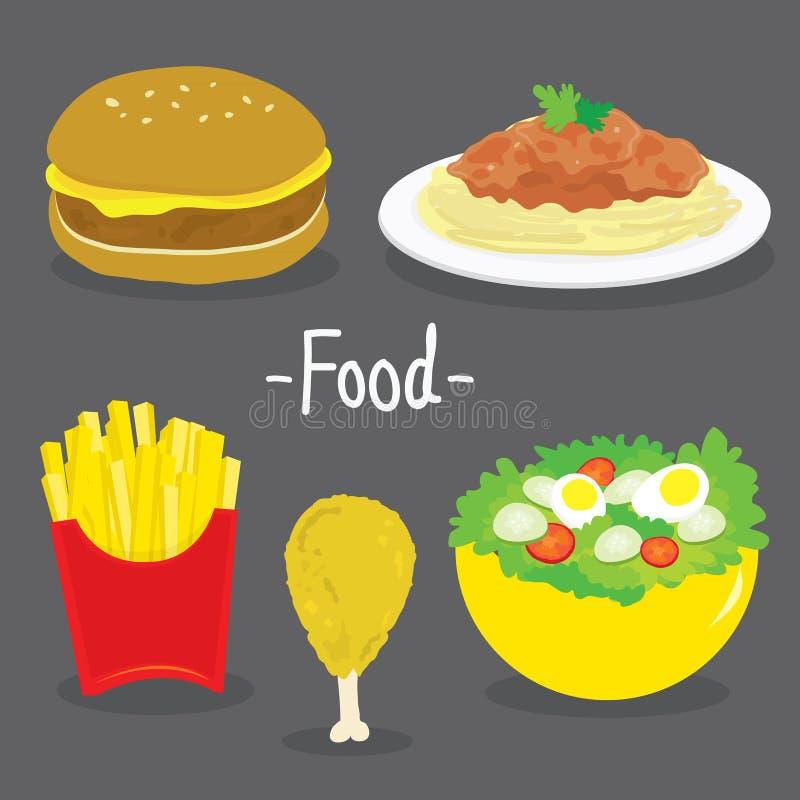 Vector de la historieta de la comida de la ensalada del tomate de los espaguetis del pollo de las patatas fritas de la hamburgues stock de ilustración