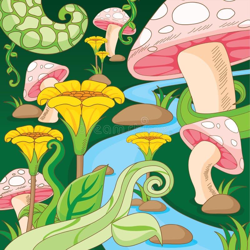 Vector de la historieta de la flor y de la seta del jardín del país de las maravillas libre illustration