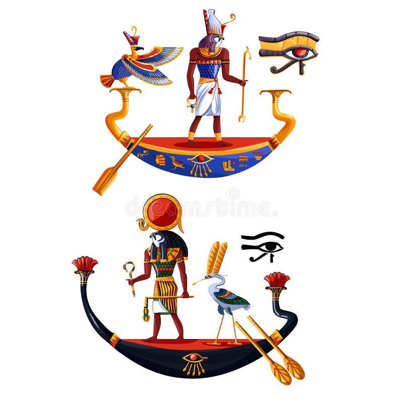 Vector de la historieta del Ra o de Horus de dios del sol de Egipto antiguo ilustración del vector