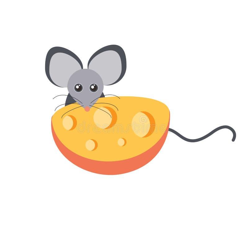 Vector de la historieta del ratón y del queso imágenes de archivo libres de regalías