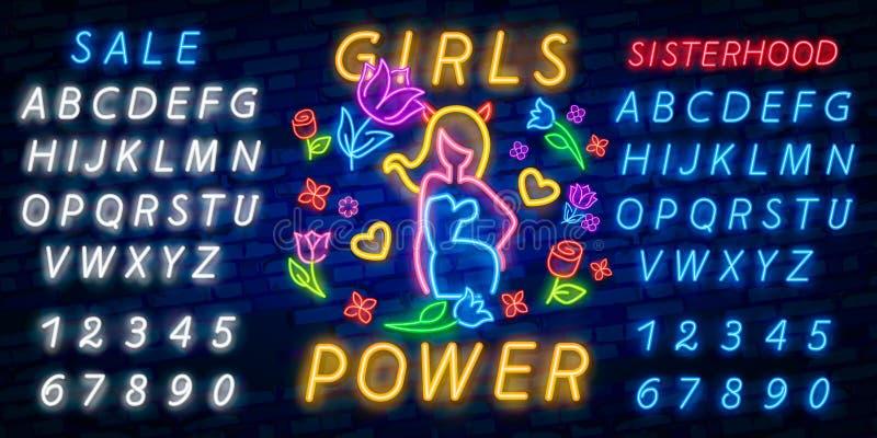 Vector de la impresión y del lema de la roca Poder de la muchacha para la camiseta u otros propósitos Símbolo del feminismo para  imagen de archivo