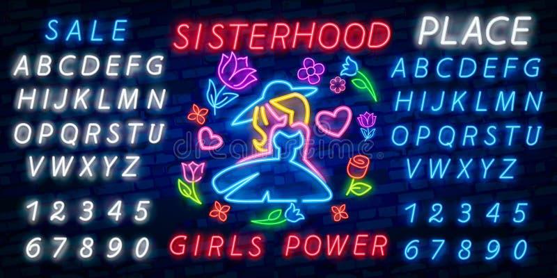 Vector de la impresión y del lema de la roca Poder de la muchacha para la camiseta u otros propósitos Símbolo del feminismo para  imagen de archivo libre de regalías
