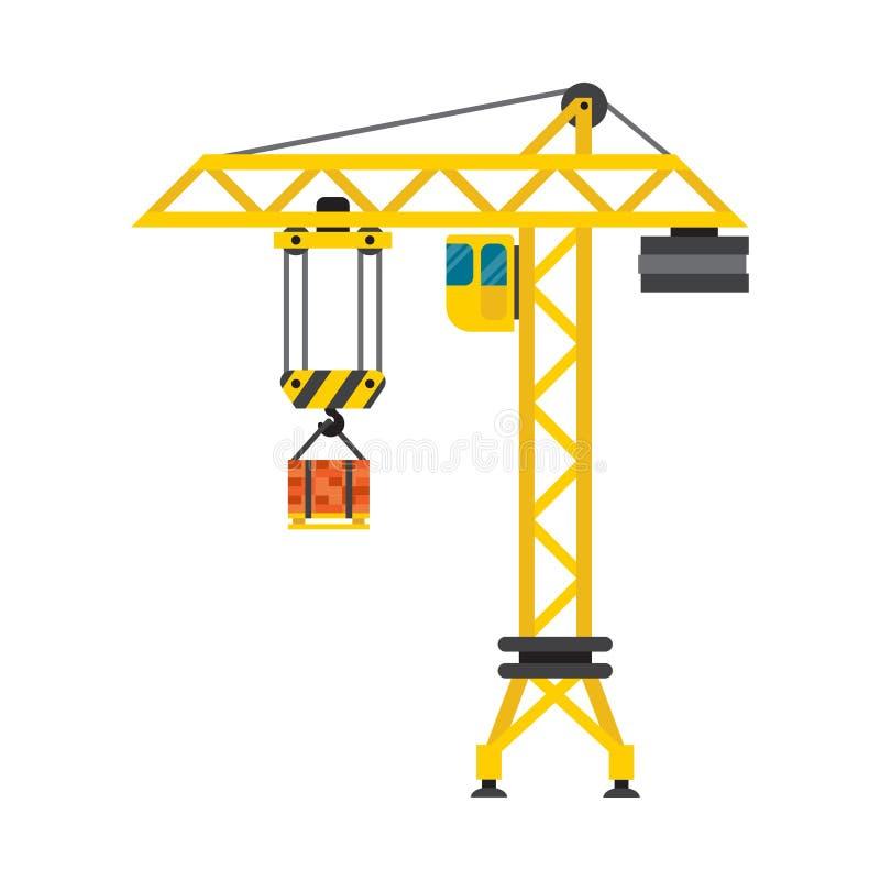 Vector de la industria de la casa de la grúa de construcción stock de ilustración
