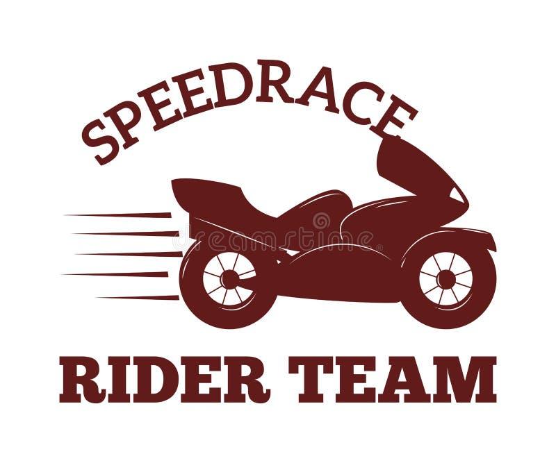 Vector de la insignia de la etiqueta de la motocicleta Ejemplo negro del club del icono y del moto libre illustration
