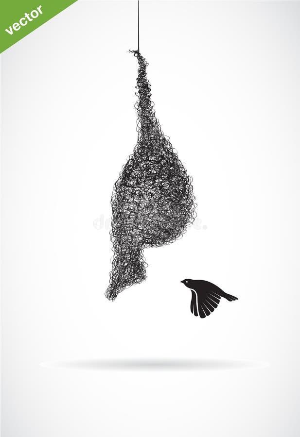 Vector de la jerarquía y del gorrión del ` s del pájaro encendido en el fondo blanco Pájaro ilustración del vector
