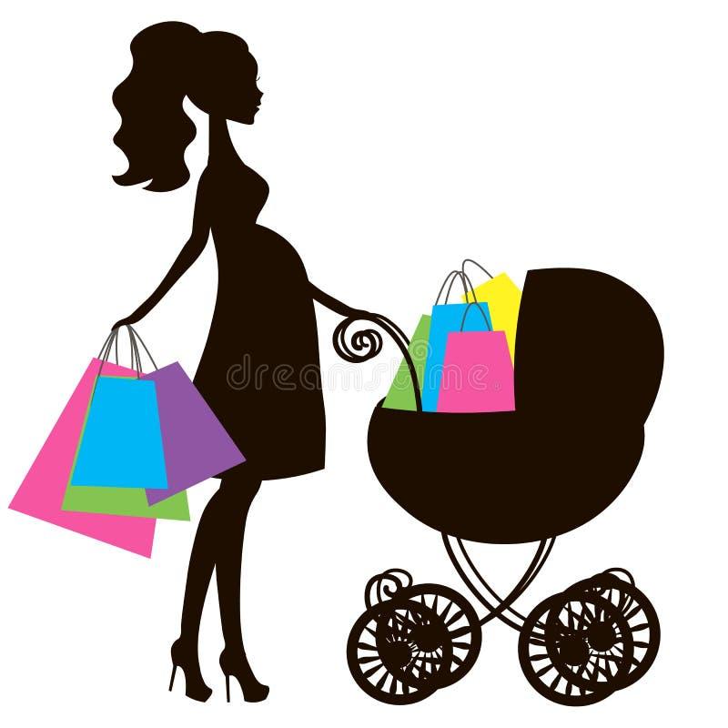 Vector de la mamá embarazada moderna con el carro de bebé del vintage, tienda en línea, logotipo, silueta, stock de ilustración