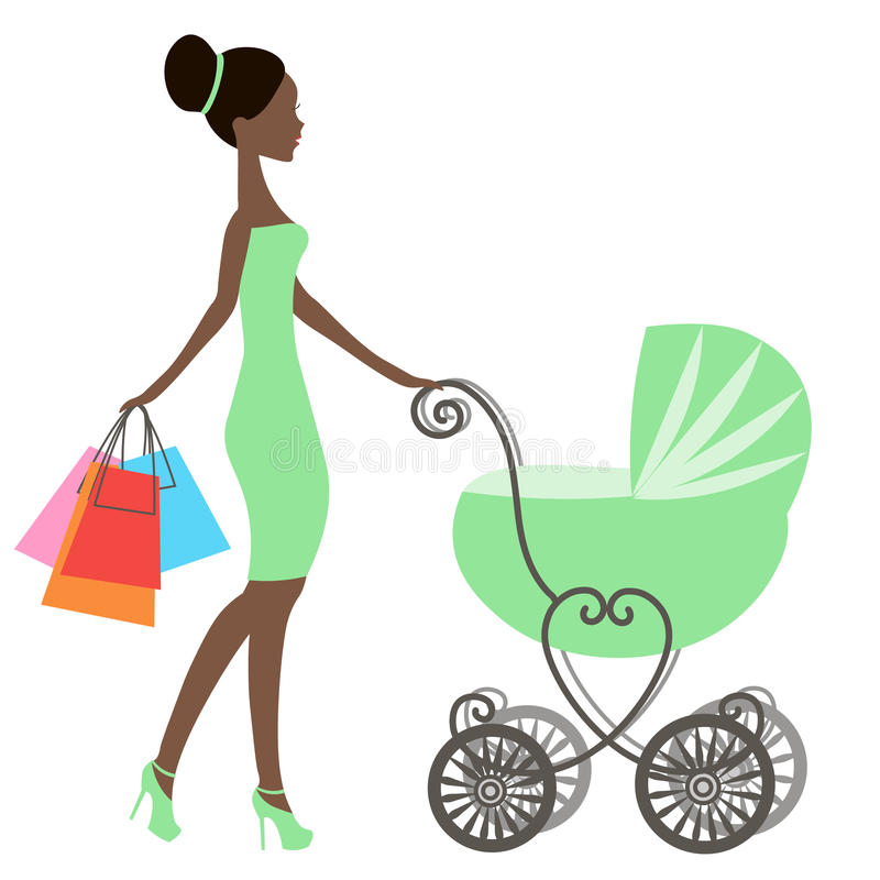 Vector de la mamá moderna con el carro de bebé del vintage, tienda en línea, logotipo, silueta, venta ilustración del vector