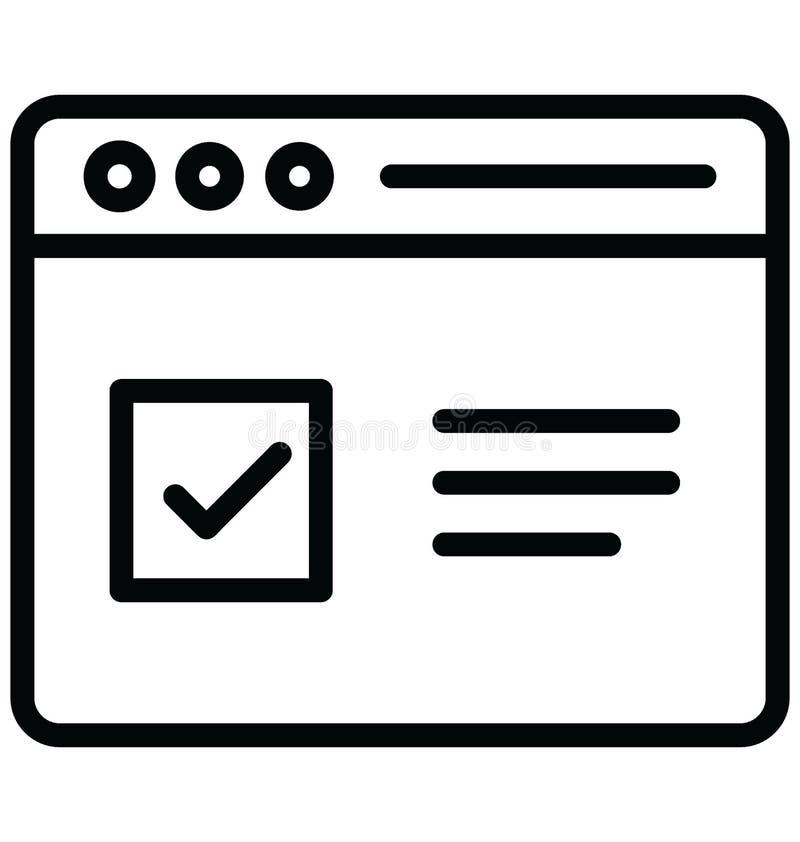 Vector de la marca de verificaci?n relacionado con las ventanas del explorador Web y completamente editable ilustración del vector