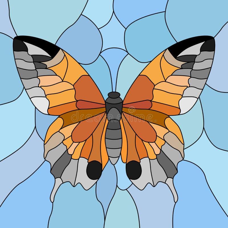 Vector de la mariposa en mosaico. ilustración del vector