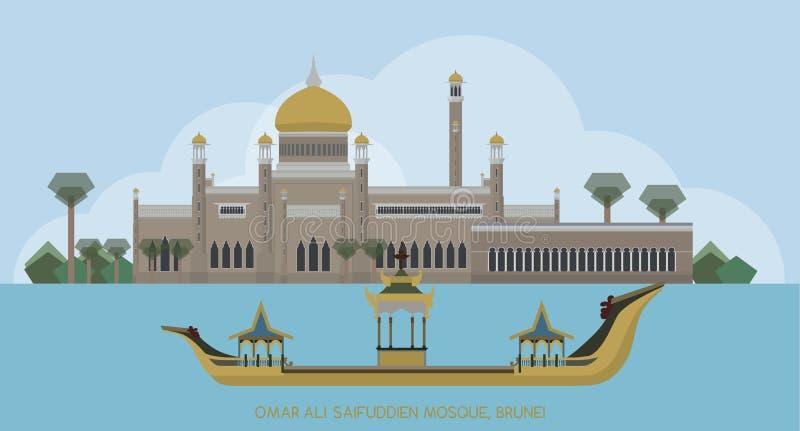 Vector de la mezquita de Sultan Omar Ali Saifuddin Mosque Islamic, Brunei ilustración del vector