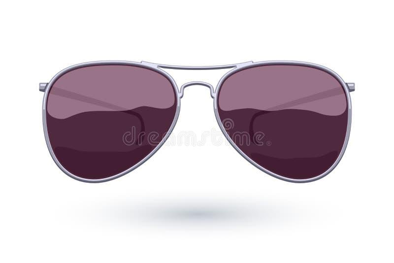 Vector de la moda del icono de las gafas de sol tipo aviador stock de ilustración