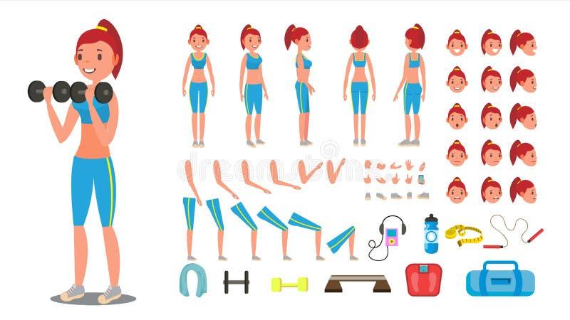 Vector de la muchacha de la aptitud Sistema animado de la creación del carácter femenino del deporte Integral, delantero, lado, v libre illustration