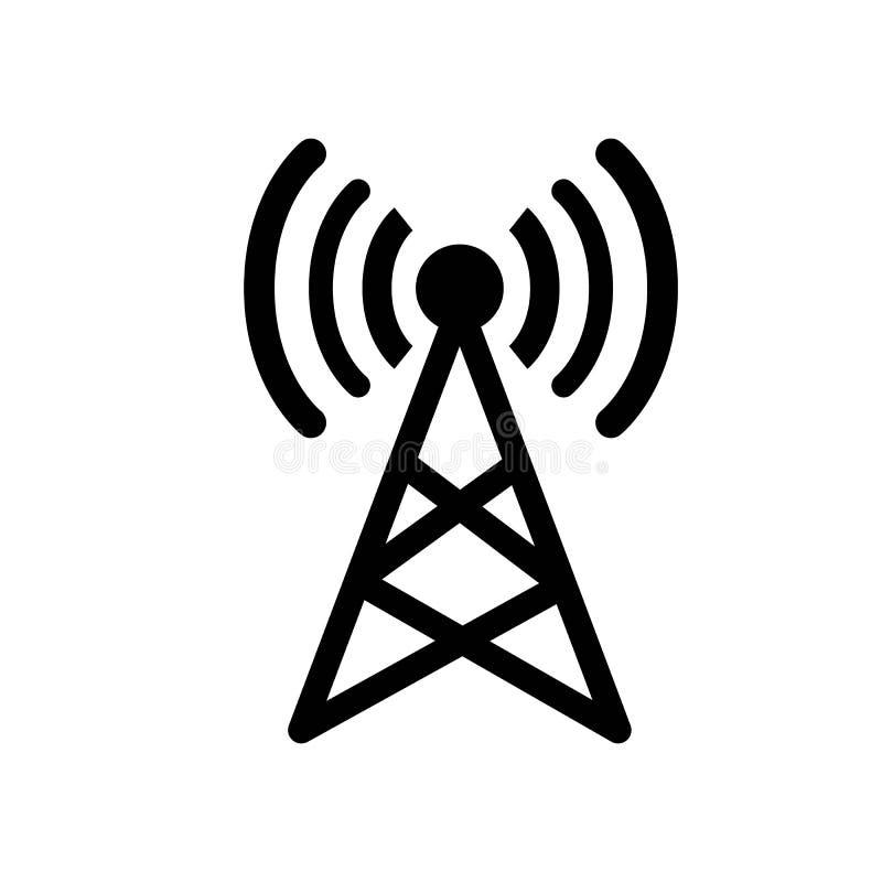 Vector de la muestra de la señal de la antena y blanco aislado stock de ilustración